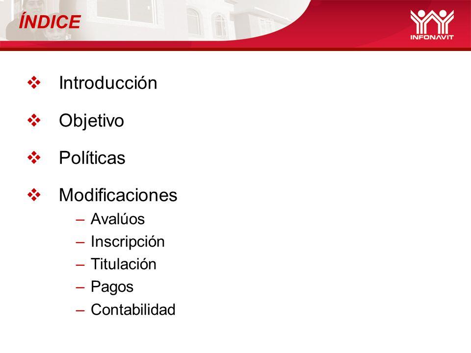ÍNDICE Introducción Objetivo Políticas Modificaciones Avalúos