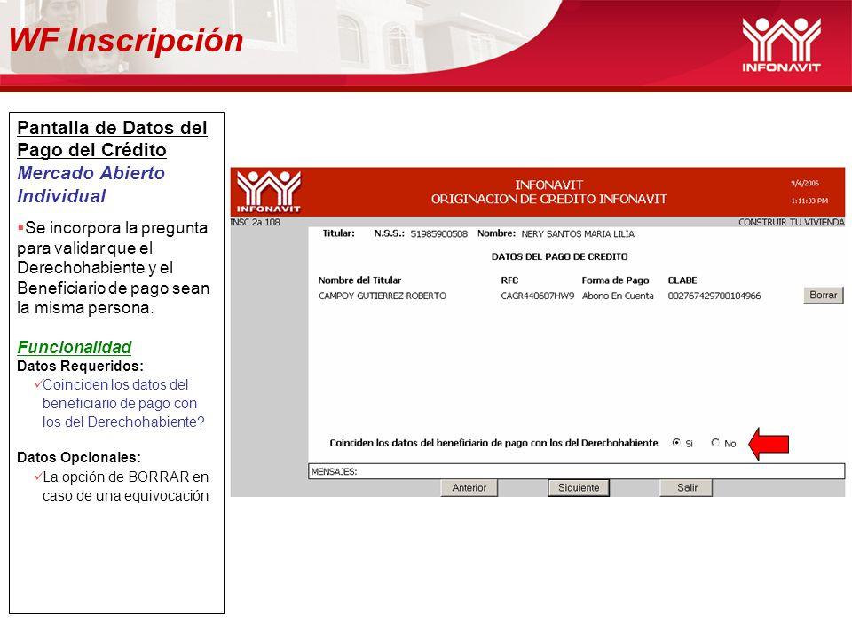 WF Inscripción Pantalla de Datos del Pago del Crédito
