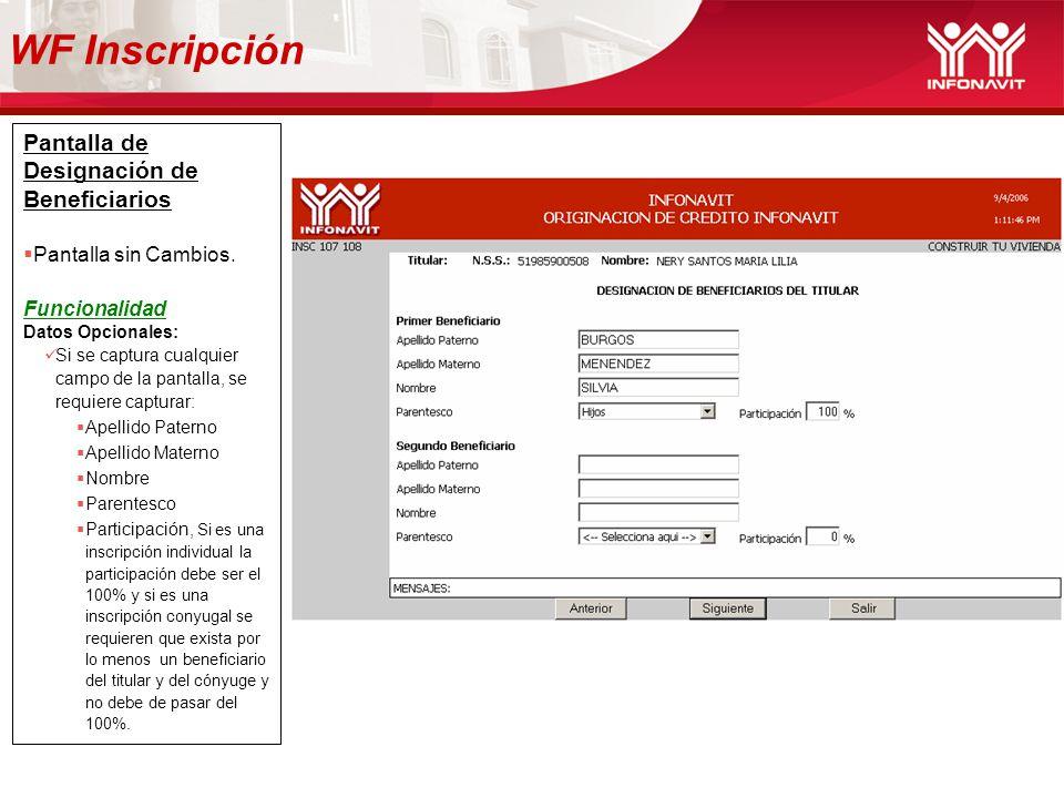 WF Inscripción Pantalla de Designación de Beneficiarios