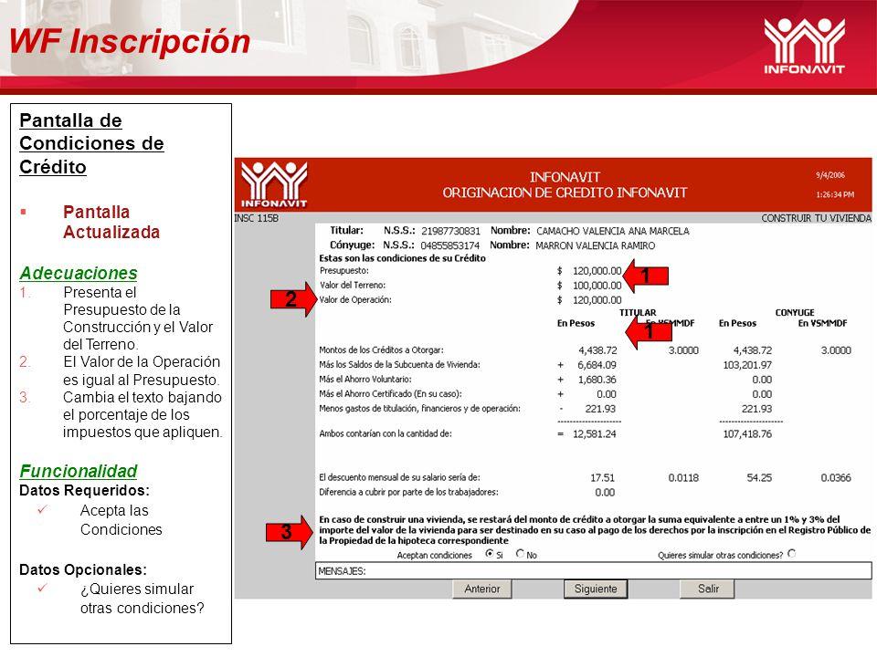 WF Inscripción 1 2 1 3 Pantalla de Condiciones de Crédito