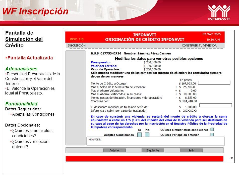 WF Inscripción Pantalla de Simulación del Crédito Pantalla Actualizada