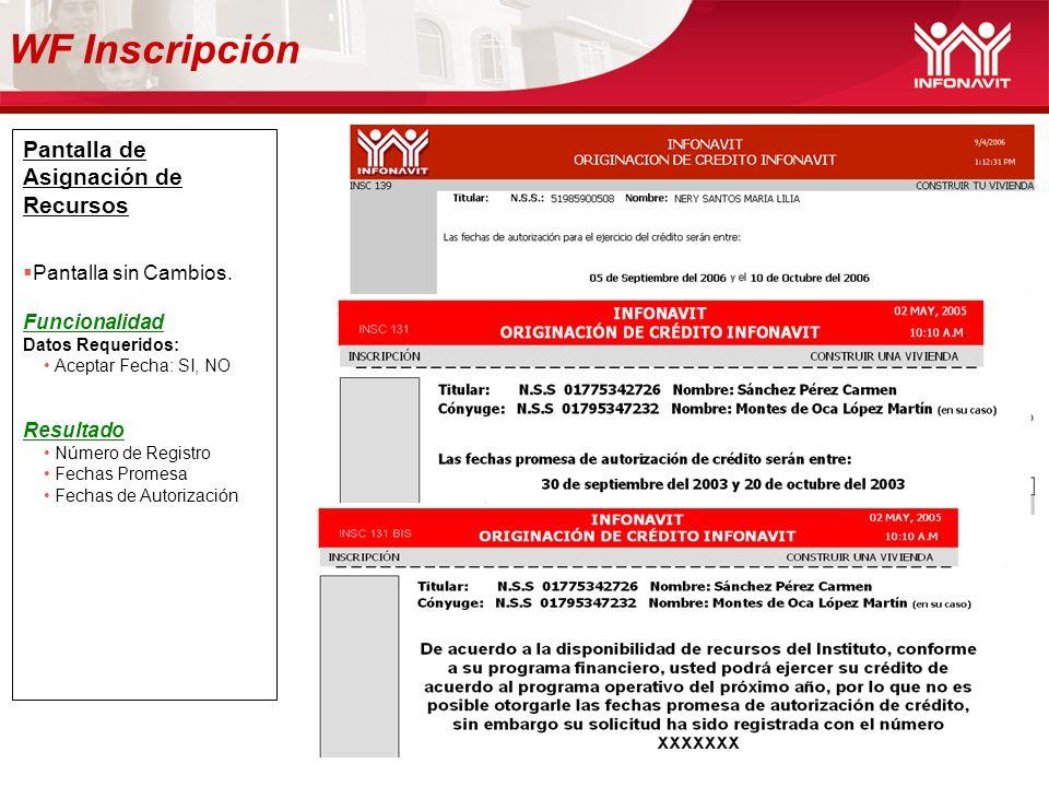 WF Inscripción Pantalla de Asignación de Recursos