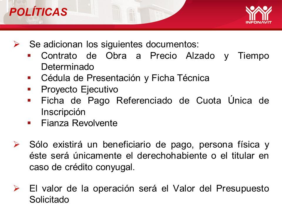 POLÍTICAS Se adicionan los siguientes documentos: