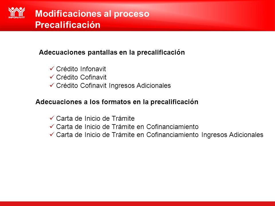 Modificaciones al proceso Precalificación
