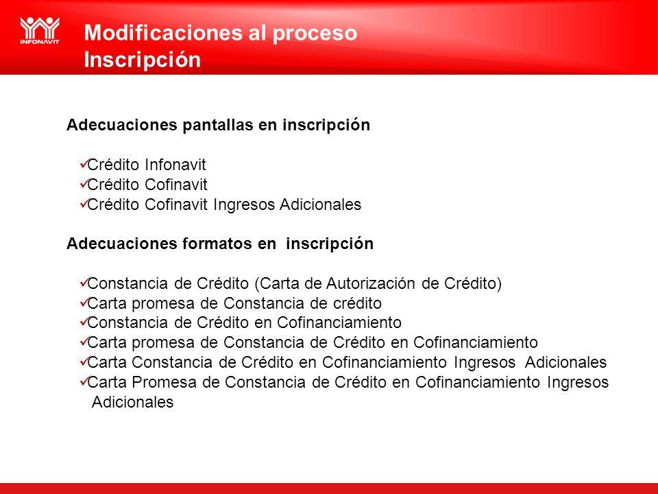 Modificaciones al proceso Inscripción