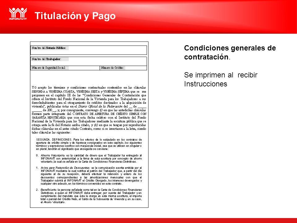 Titulación y Pago Condiciones generales de contratación.