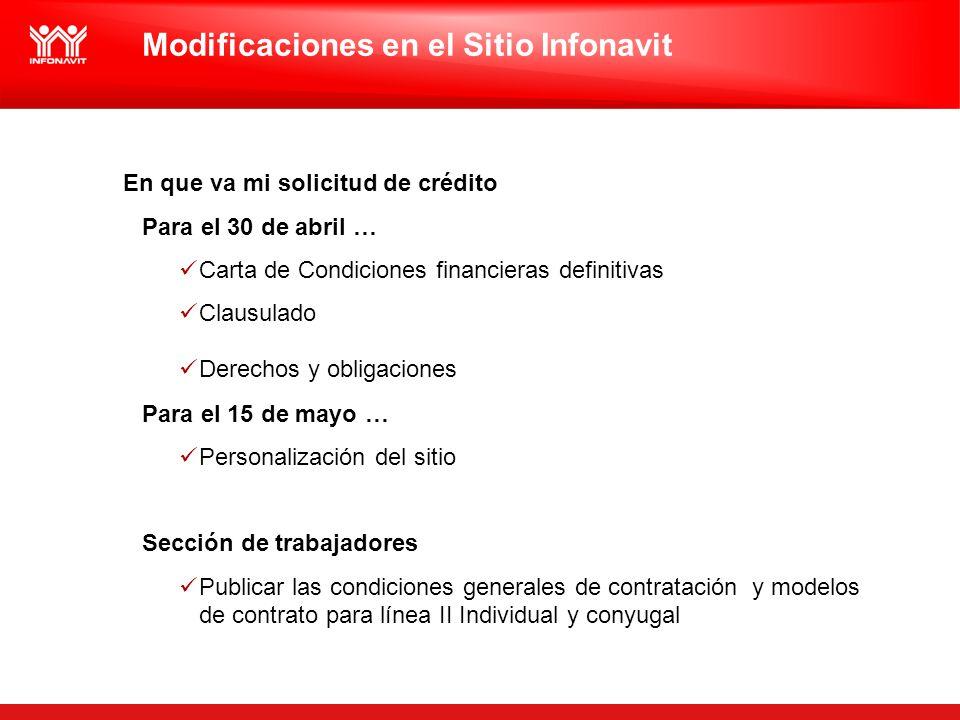 Modificaciones en el Sitio Infonavit