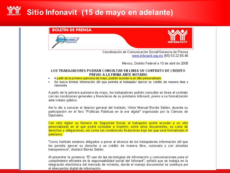 Sitio Infonavit (15 de mayo en adelante)