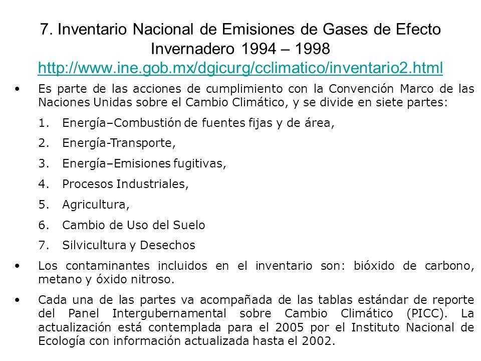 7. Inventario Nacional de Emisiones de Gases de Efecto Invernadero 1994 – 1998 http://www.ine.gob.mx/dgicurg/cclimatico/inventario2.html