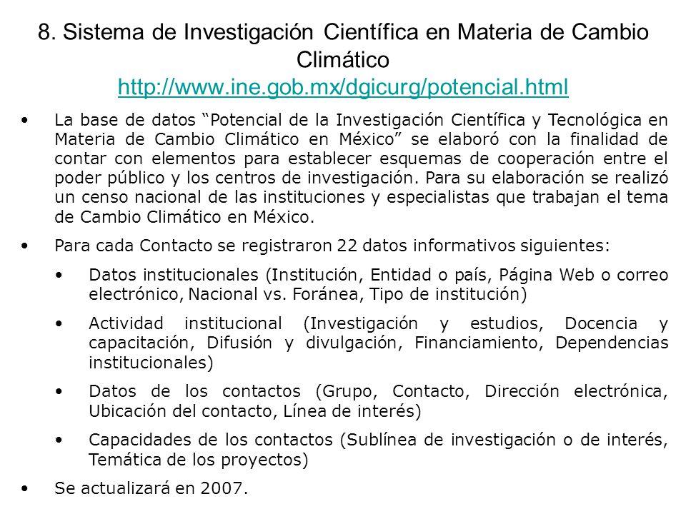 8. Sistema de Investigación Científica en Materia de Cambio Climático http://www.ine.gob.mx/dgicurg/potencial.html