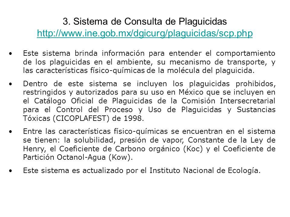 3. Sistema de Consulta de Plaguicidas http://www. ine. gob