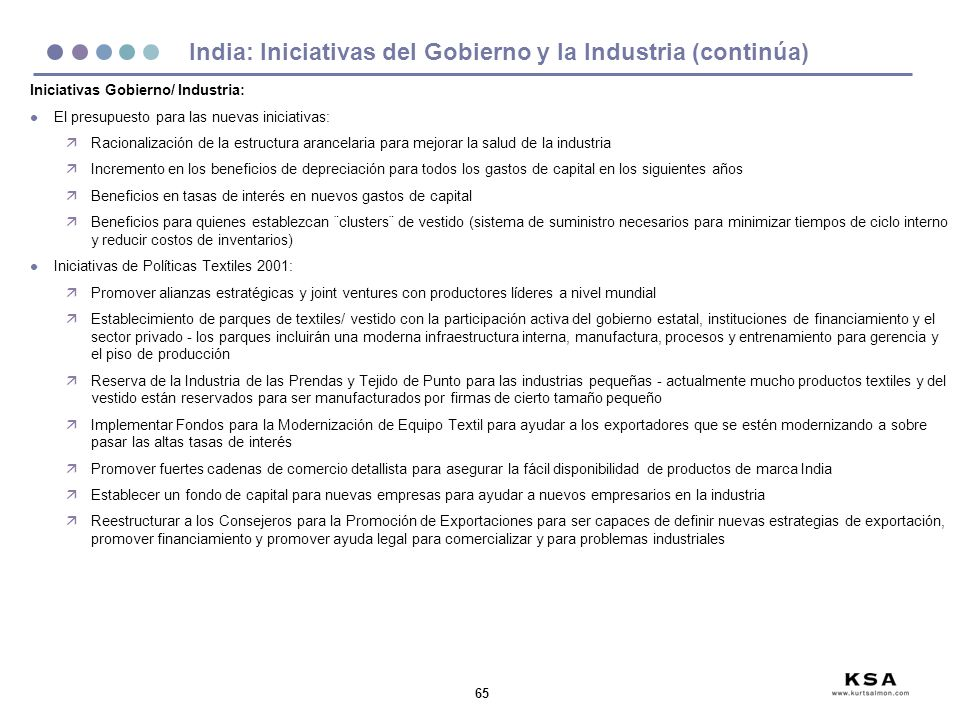 India: Iniciativas del Gobierno y la Industria (continúa)