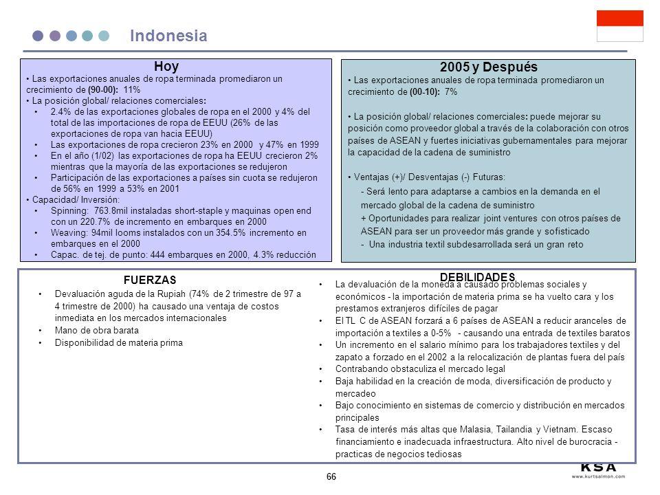 Indonesia Hoy 2005 y Después DEBILIDADES FUERZAS
