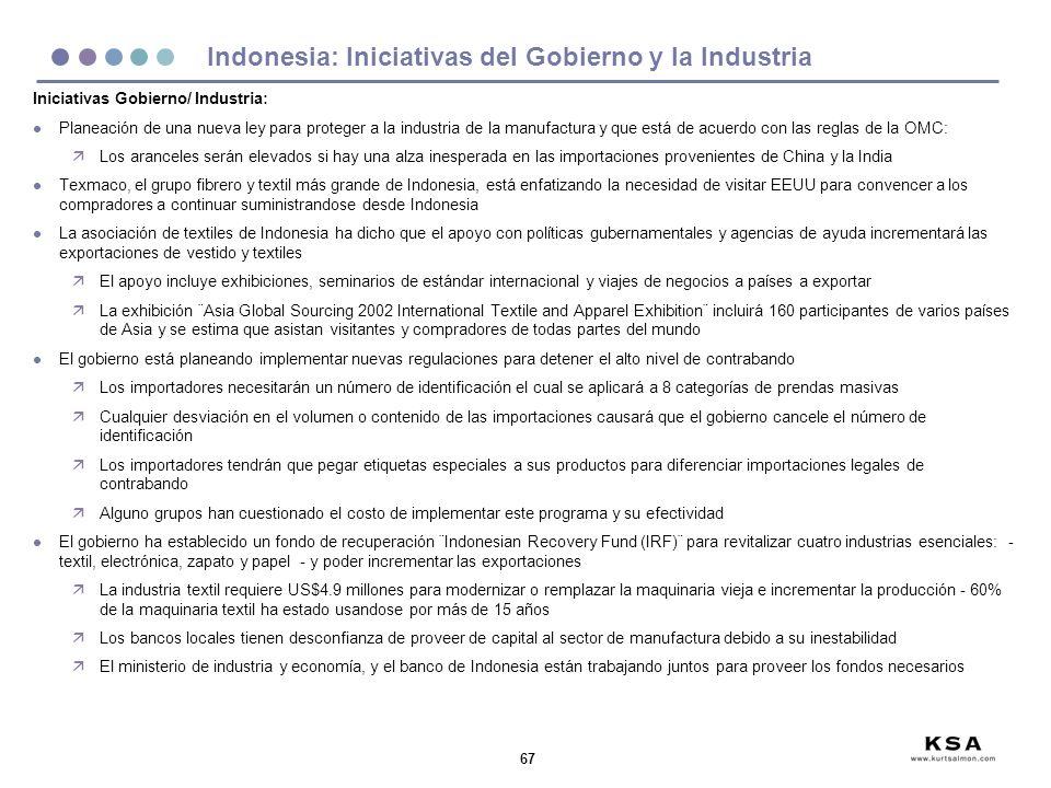 Indonesia: Iniciativas del Gobierno y la Industria