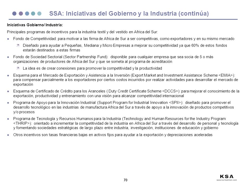 SSA: Iniciativas del Gobierno y la Industria (continúa)
