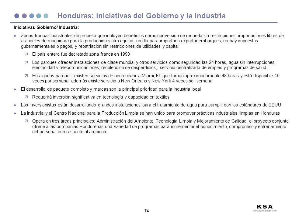 Honduras: Iniciativas del Gobierno y la Industria