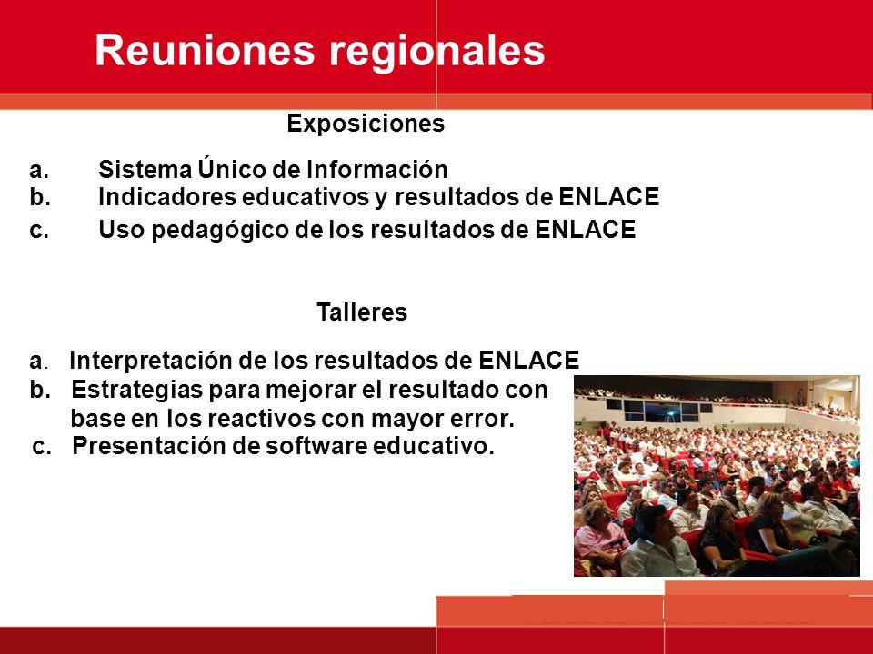 Reuniones regionales Exposiciones Sistema Único de Información