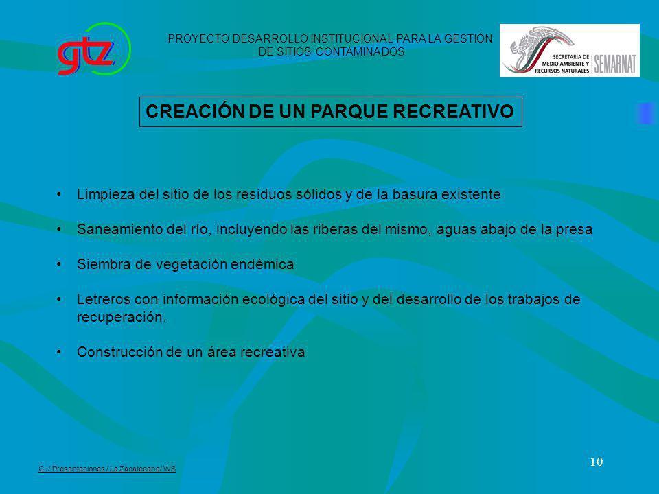 CREACIÓN DE UN PARQUE RECREATIVO