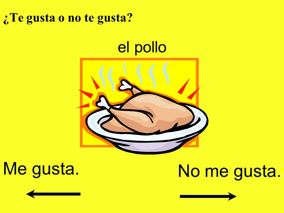 ¿Te gusta o no te gusta el pollo Me gusta. No me gusta.