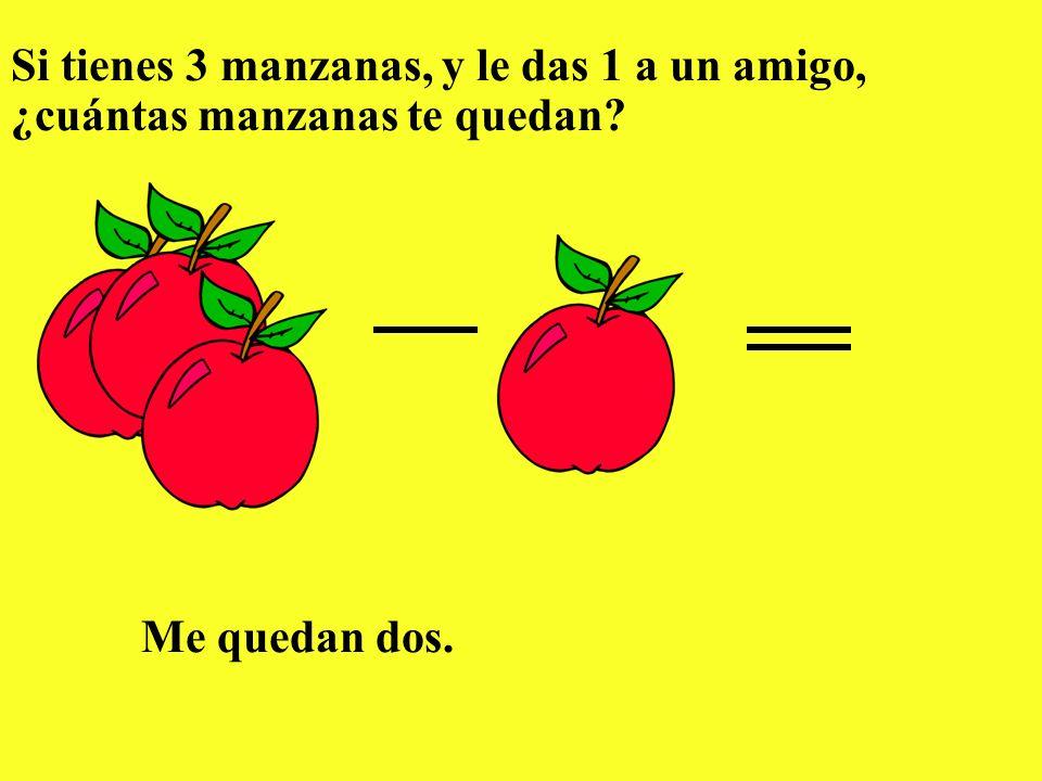 Si tienes 3 manzanas, y le das 1 a un amigo, ¿cuántas manzanas te quedan