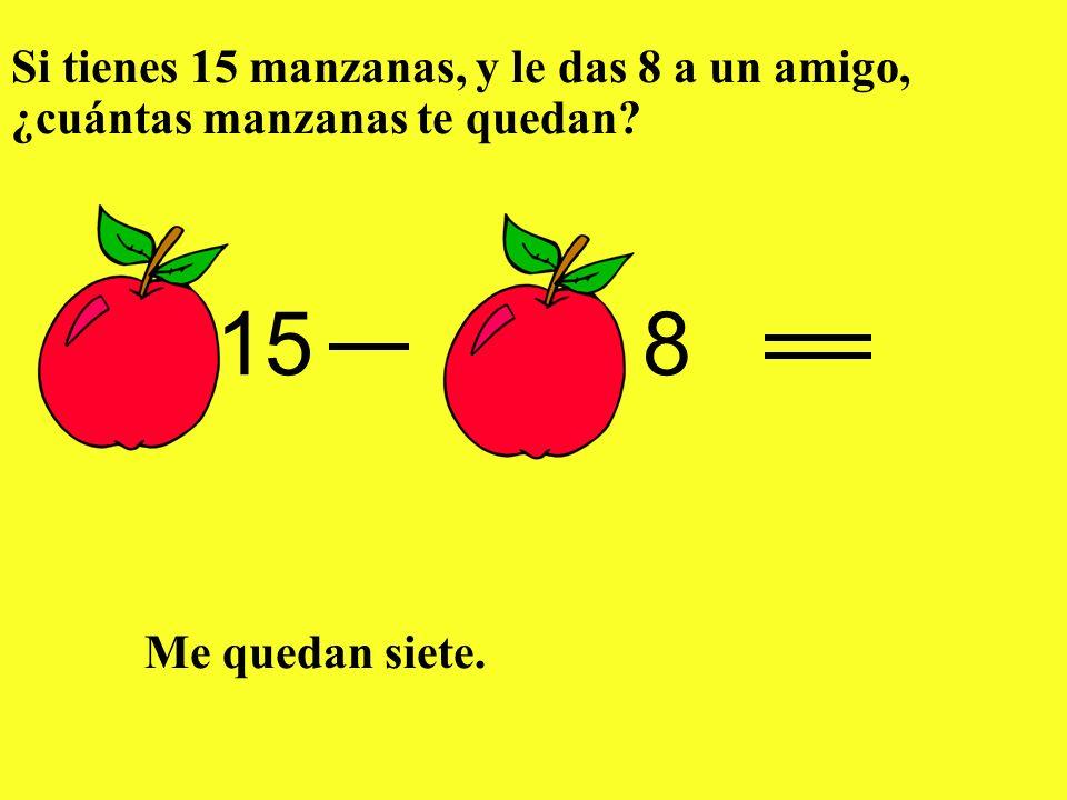 Si tienes 15 manzanas, y le das 8 a un amigo, ¿cuántas manzanas te quedan