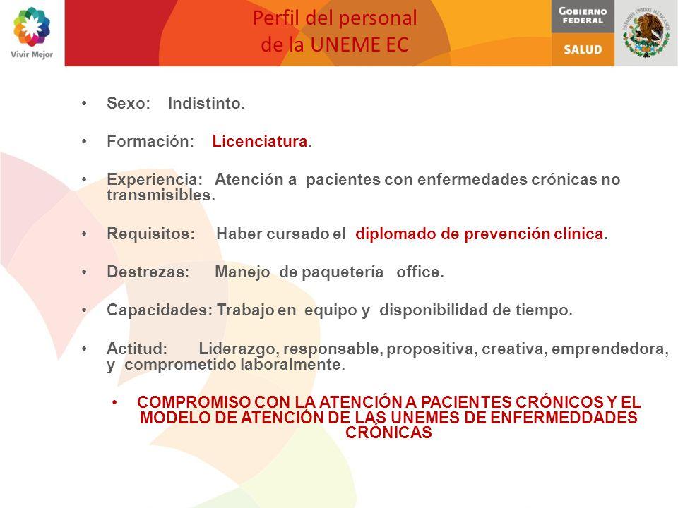 Perfil del personal de la UNEME EC