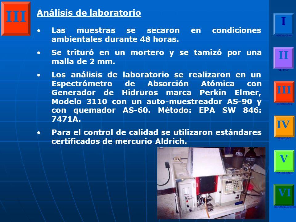 III I II III IV V VI Análisis de laboratorio