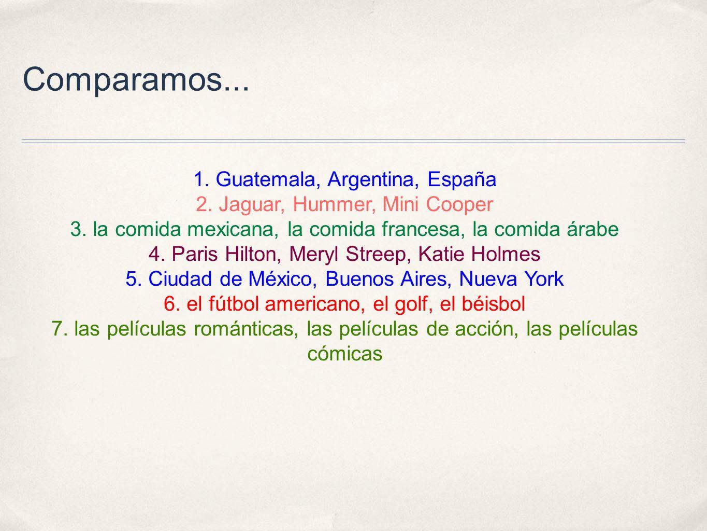 Comparamos... 1. Guatemala, Argentina, España