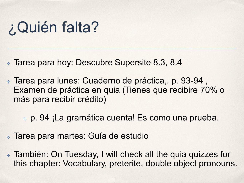 ¿Quién falta Tarea para hoy: Descubre Supersite 8.3, 8.4