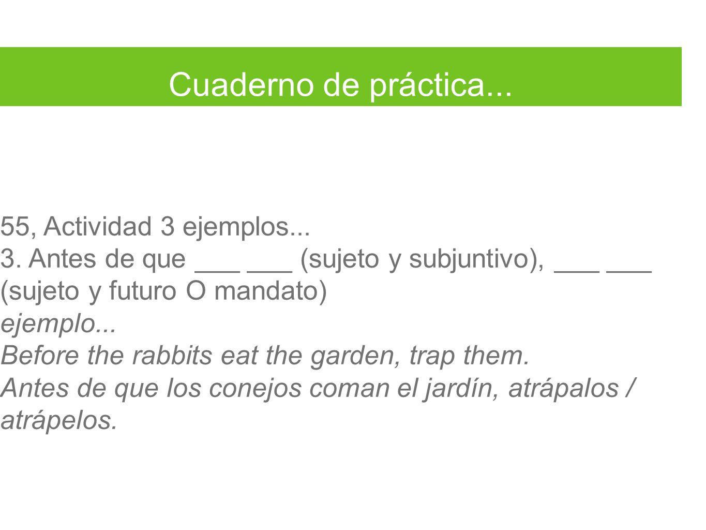 Cuaderno de práctica... 55, Actividad 3 ejemplos...