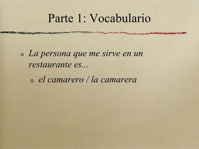 Parte 1: Vocabulario La persona que me sirve en un restaurante es...
