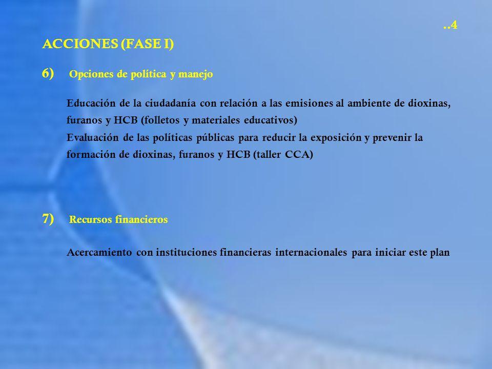 6) Opciones de política y manejo