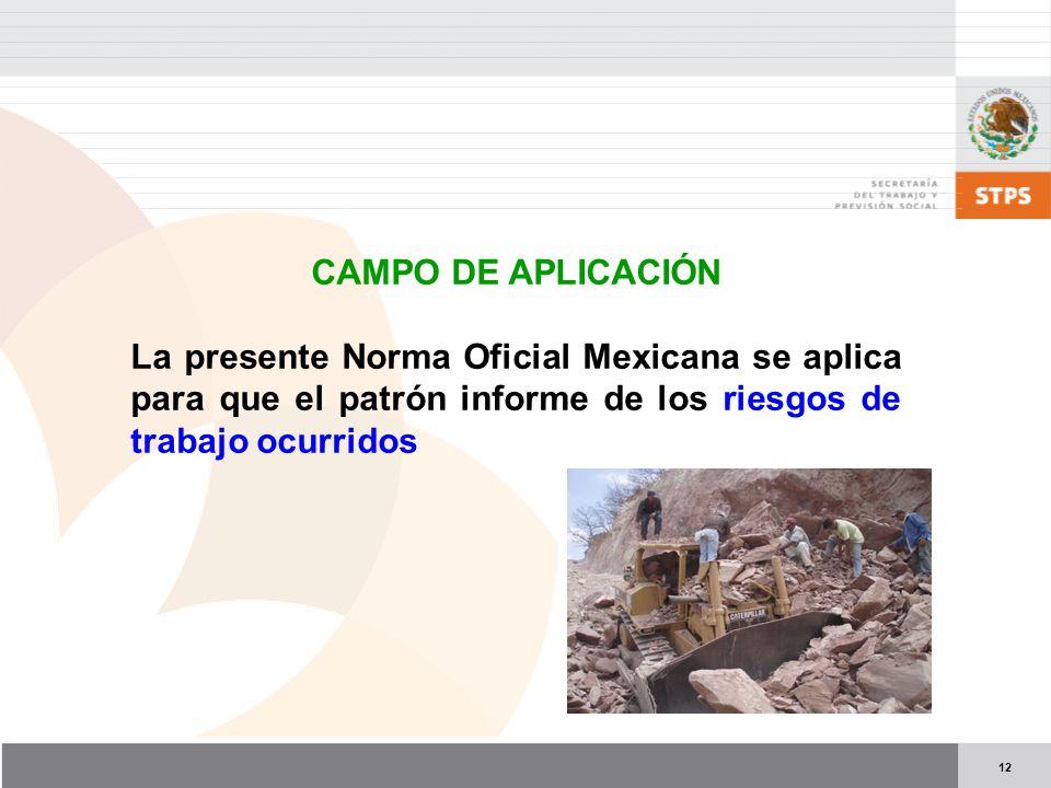 CAMPO DE APLICACIÓN La presente Norma Oficial Mexicana se aplica para que el patrón informe de los riesgos de trabajo ocurridos.