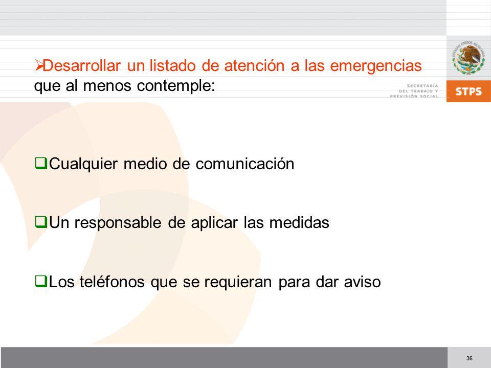 Desarrollar un listado de atención a las emergencias que al menos contemple: