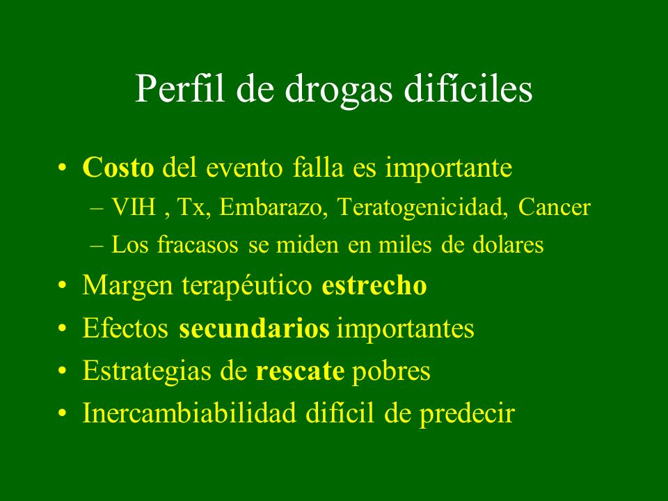 Perfil de drogas difíciles