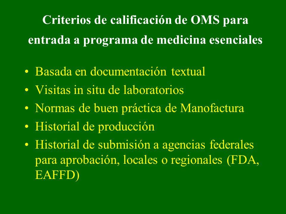 Criterios de calificación de OMS para entrada a programa de medicina esenciales