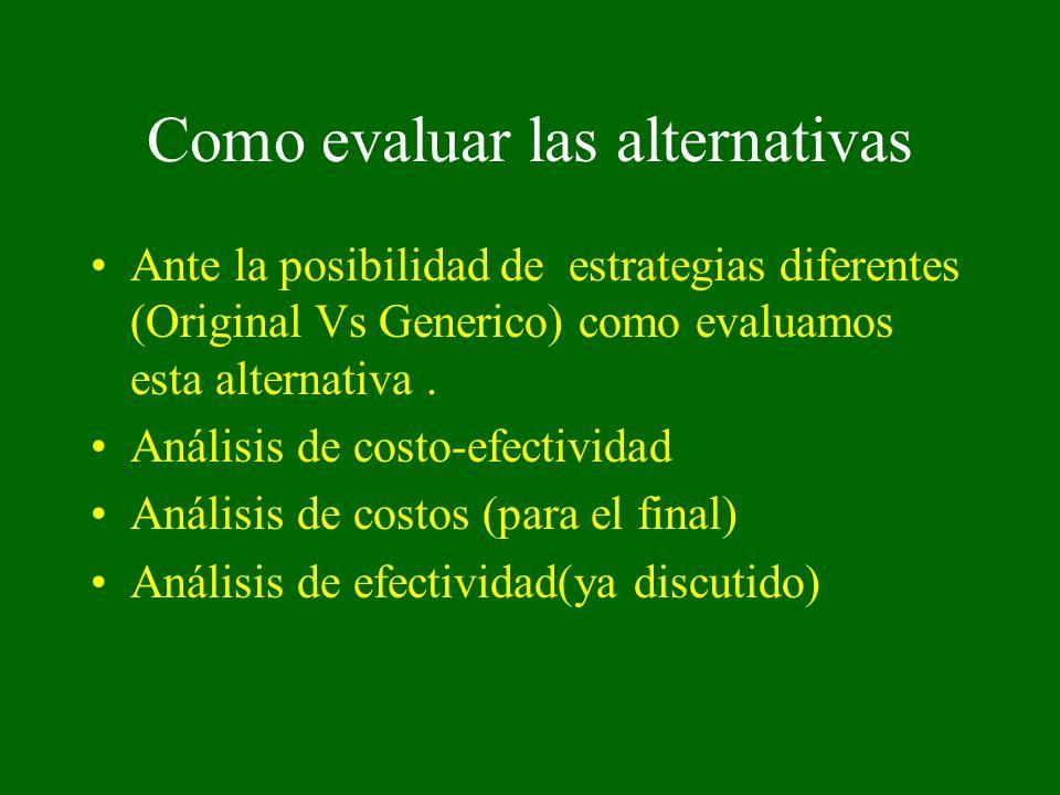 Como evaluar las alternativas