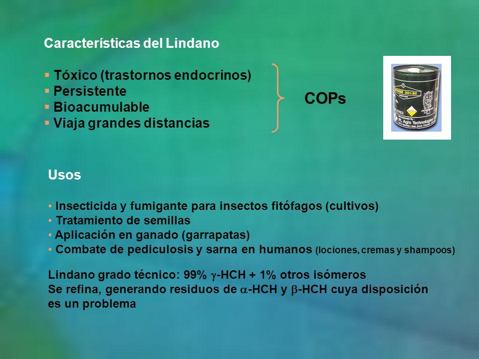 COPs Características del Lindano Tóxico (trastornos endocrinos)