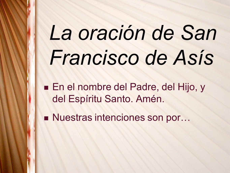 La oración de San Francisco de Asís