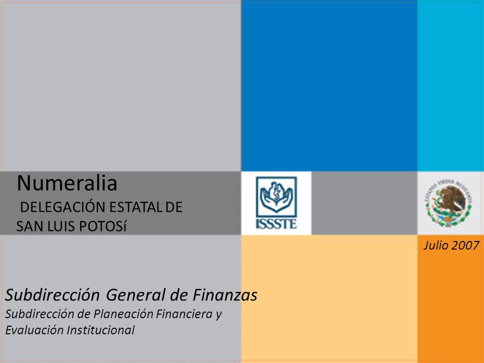 Numeralia DELEGACIÓN ESTATAL DE SAN LUIS POTOSí