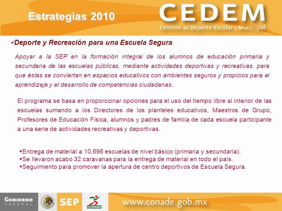 Estrategias 2010 Deporte y Recreación para una Escuela Segura