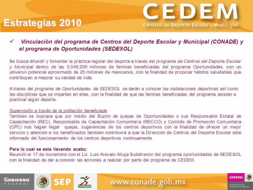 Estrategias 2010 Vinculación del programa de Centros del Deporte Escolar y Municipal (CONADE) y el programa de Oportunidades (SEDESOL)