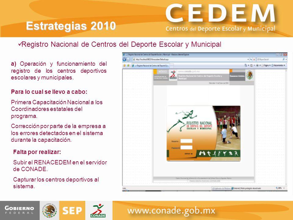 Estrategias 2010 Registro Nacional de Centros del Deporte Escolar y Municipal.
