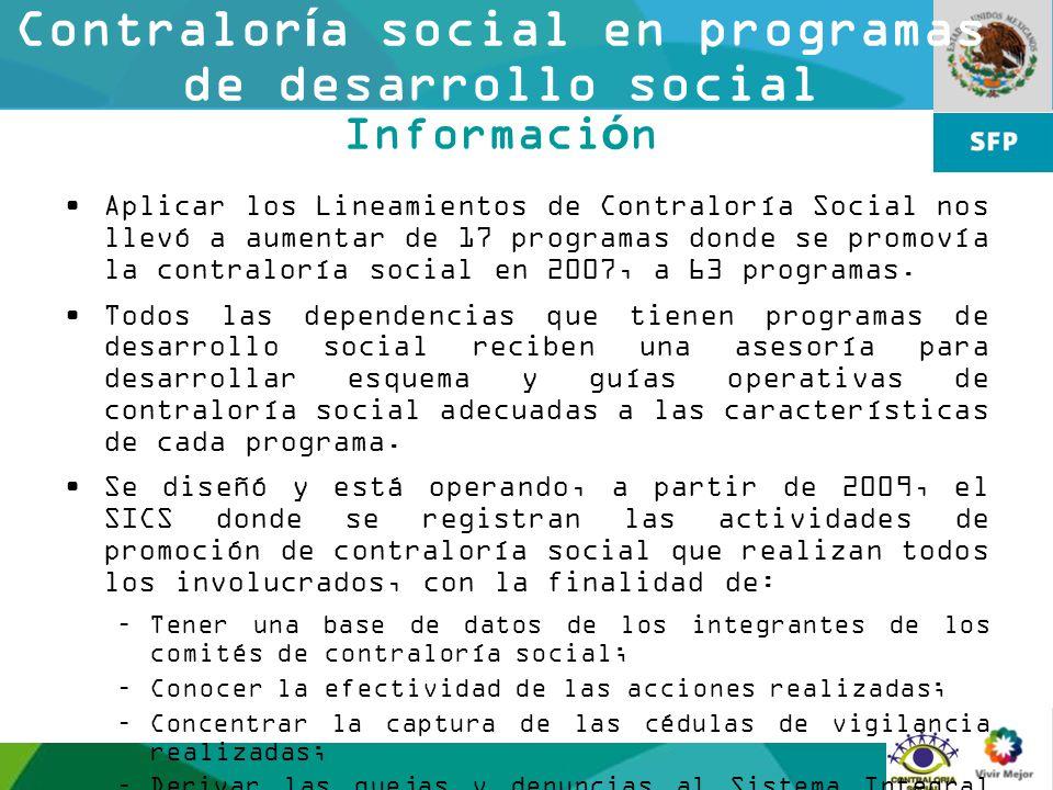 Contraloría social en programas de desarrollo social Información