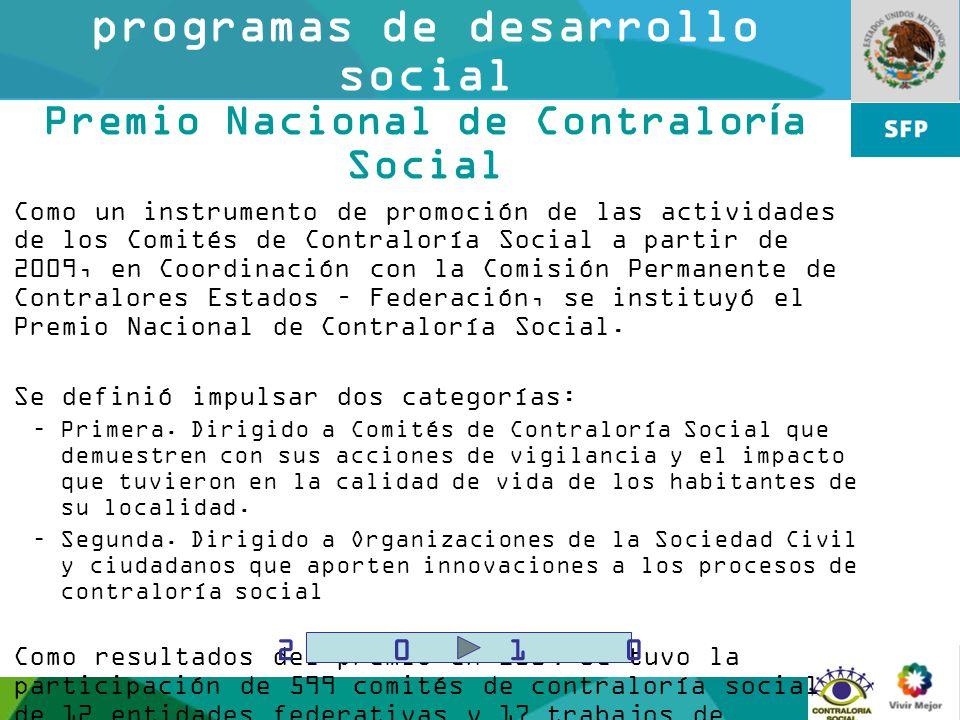 Contraloría social en programas de desarrollo social Premio Nacional de Contraloría Social