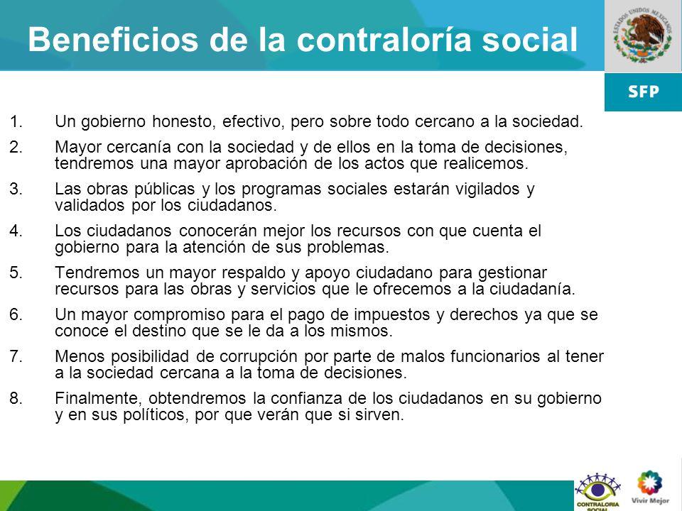 Beneficios de la contraloría social