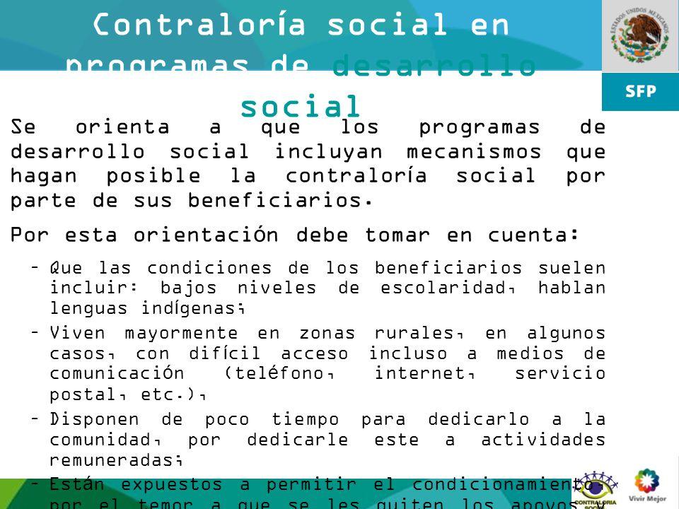Contraloría social en programas de desarrollo social