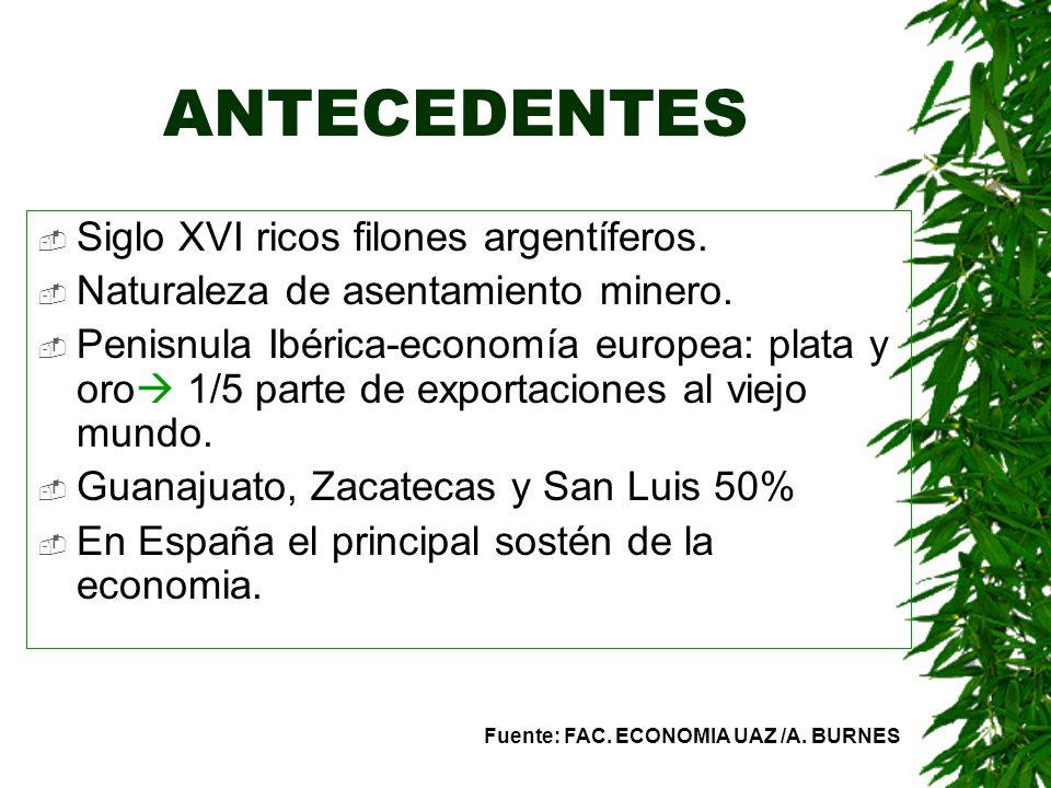 ANTECEDENTES Siglo XVI ricos filones argentíferos.