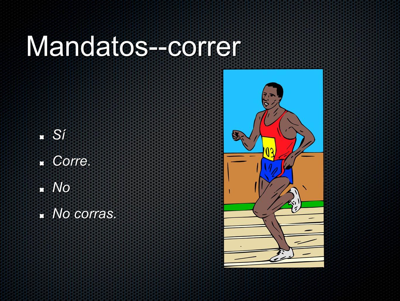 Mandatos--correr Sí Corre. No No corras.