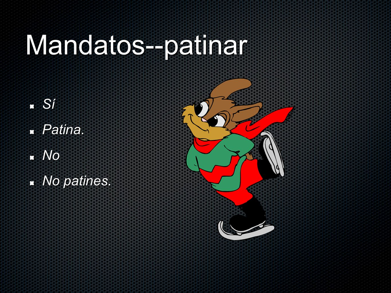 Mandatos--patinar Sí Patina. No No patines.